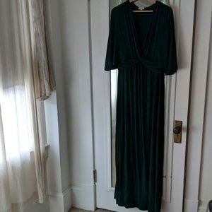Kiyonna Emerald Green Maxi Dress Flowy Knot Detail